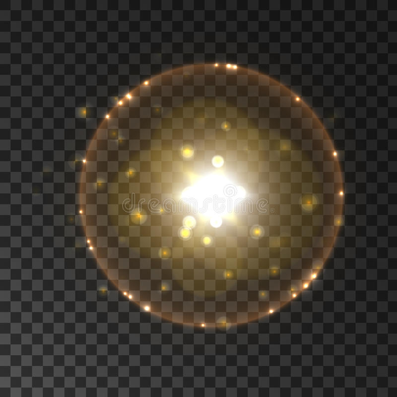Słoneczny halo światła błysk z obiektywu racy skutkiem ilustracja wektor