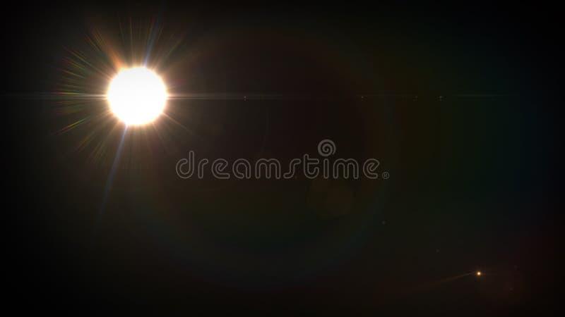 Słoneczny obiektywu racy światła specjalnego skutka czerni tło fotografia royalty free