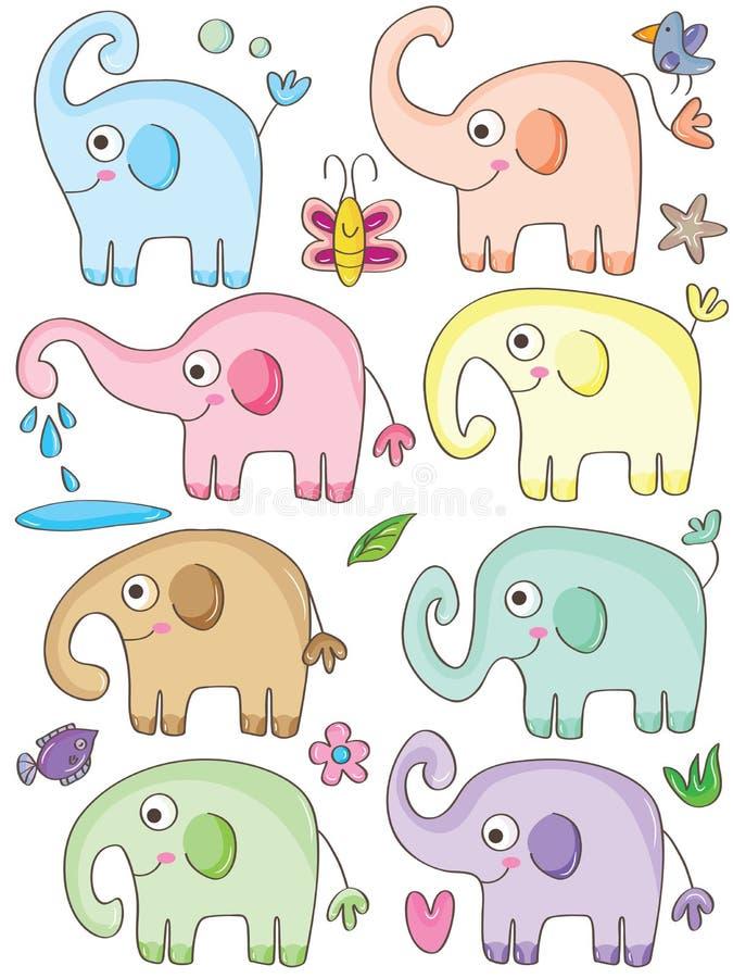 Słoni Śliczni sety ilustracja wektor