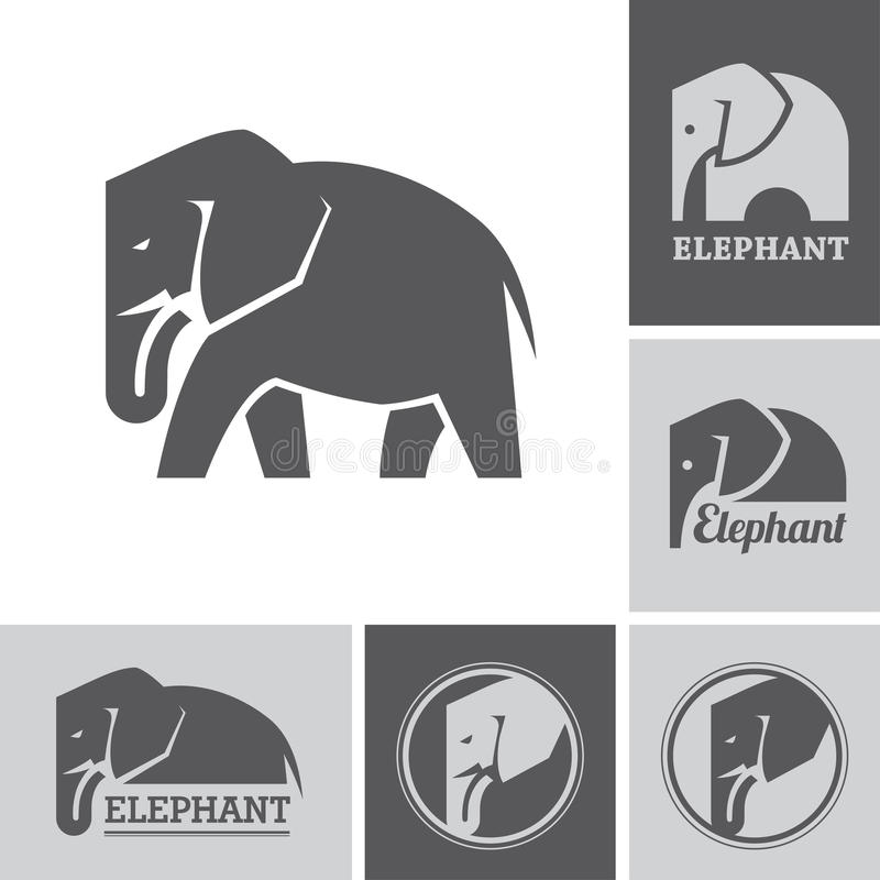 Słoni symbole i ikony ilustracja wektor