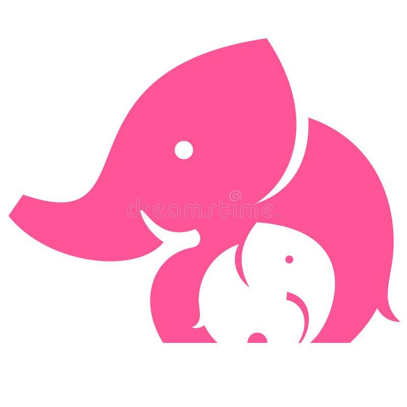 Słonia dziecko i mama ilustracja wektor