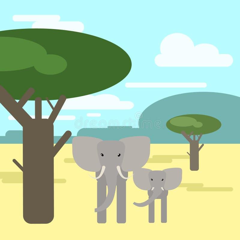 Słonia dziecko wpólnie w sawannie i Zwierzęta Af ilustracji