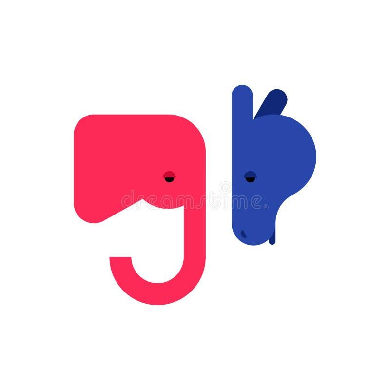 Słonia i osła ikona Demokrata i republikanina znak Polityczny patriotyczny zwierzę ilustracji