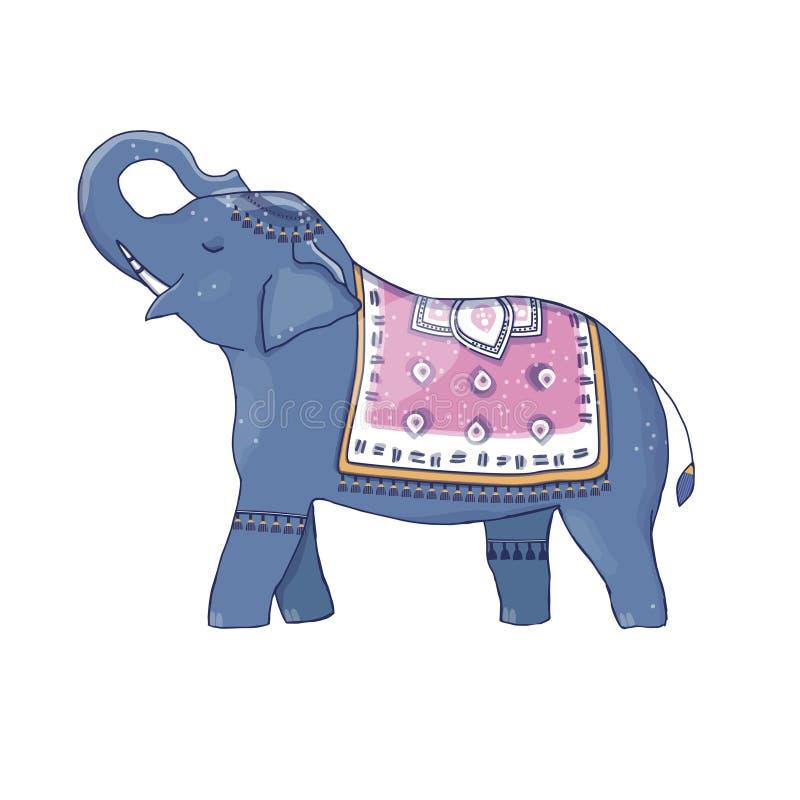 Słonia i poncho klamerki sztuki twarzy uśmiechu charakteru rysunku koloru śmieszny ilustracyjny błękit różowi peleryna przylądka  royalty ilustracja