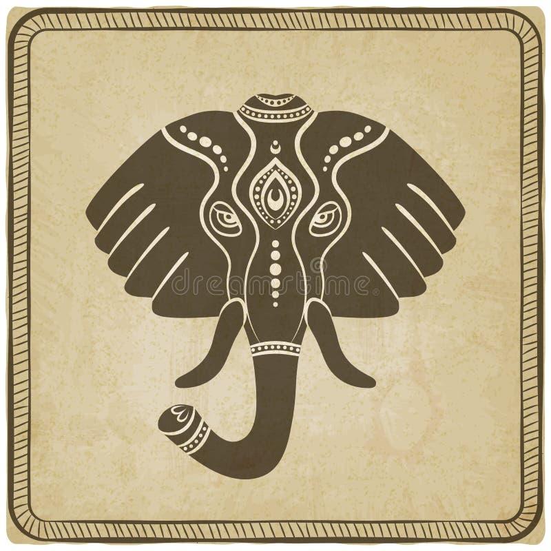 Słonia kierowniczy stary tło royalty ilustracja