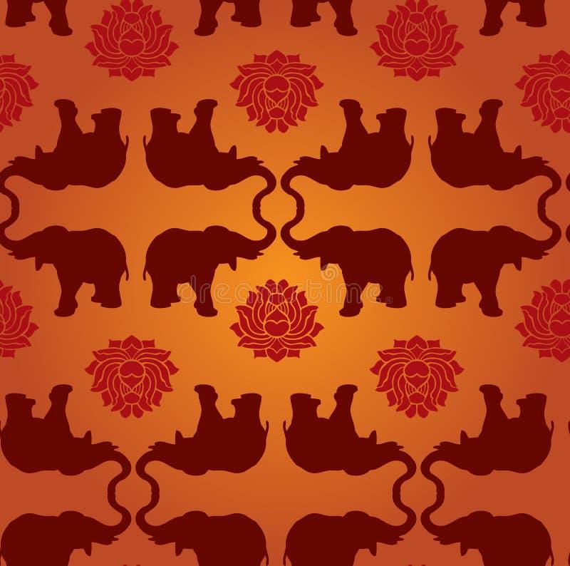 słonia lotosu wzór ilustracji