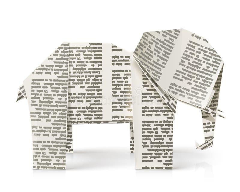 Słonia origami papieru zabawka ilustracji
