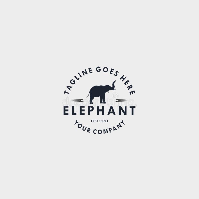 Słonia rocznika logo projekta szablon Projektuje elementy dla loga, etykietka, emblemat, znak wektorowa ilustracja - wektor royalty ilustracja
