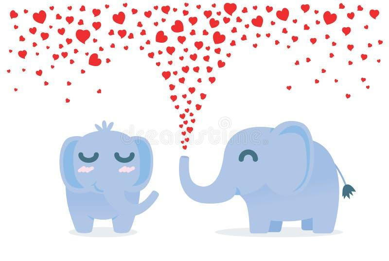 Słonia rozpylać wiele z nosa dla flirtu serce ilustracji