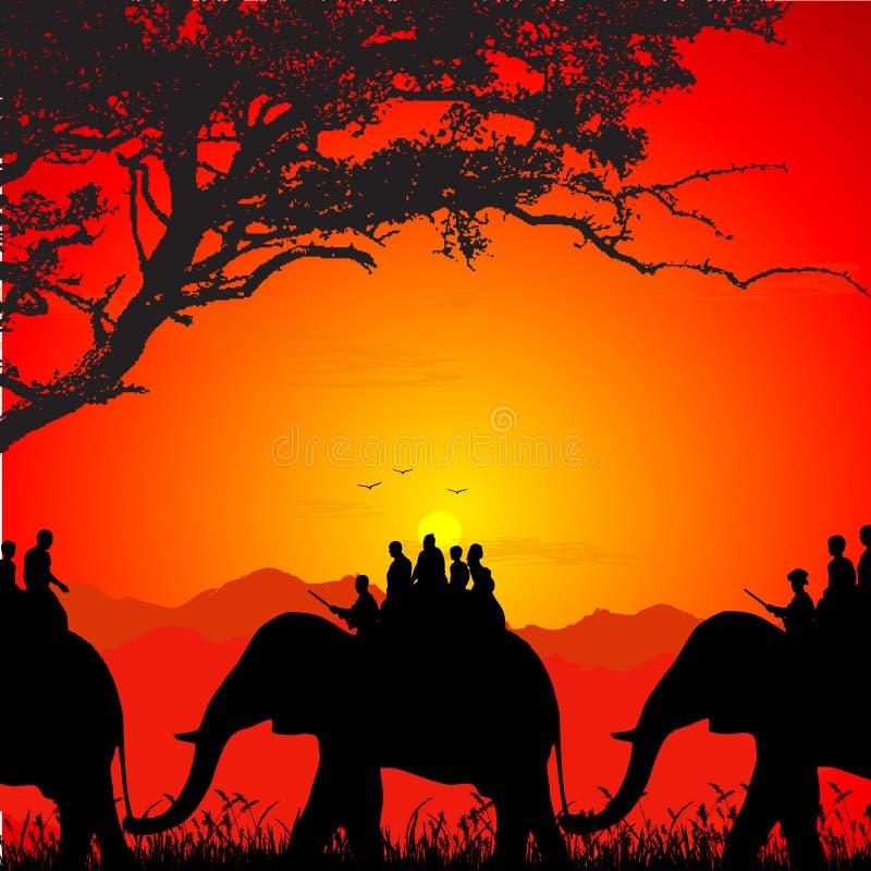 słonia safari sylwetki przyroda royalty ilustracja