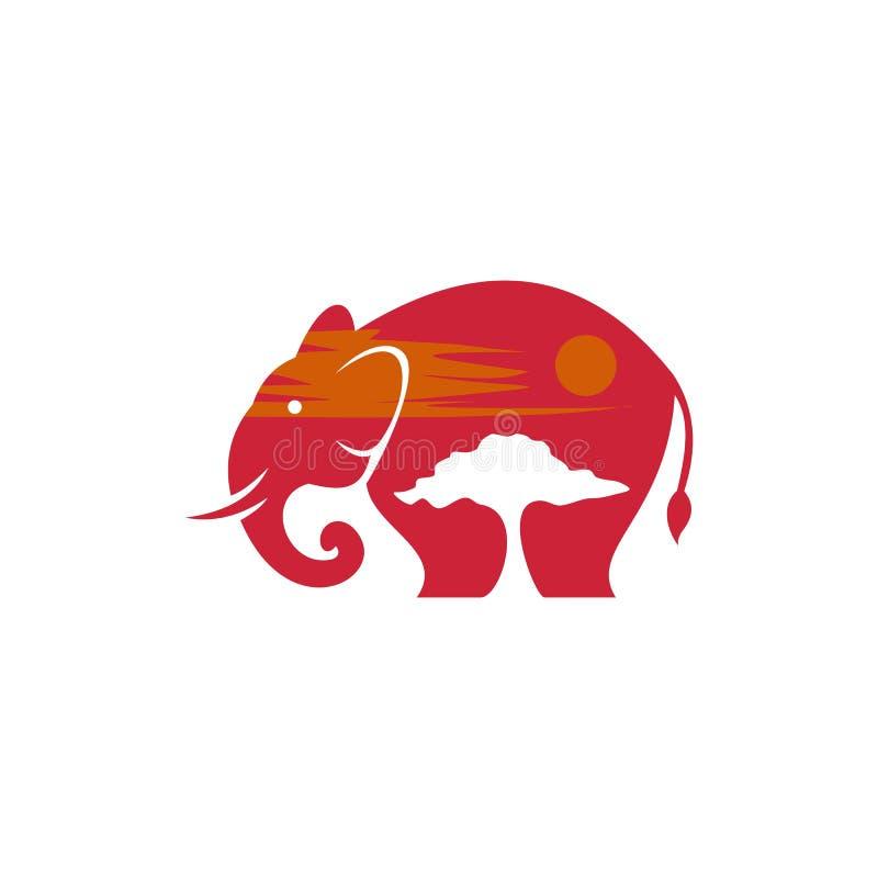 Słonia safari zmierzchu wektorowy projekt royalty ilustracja
