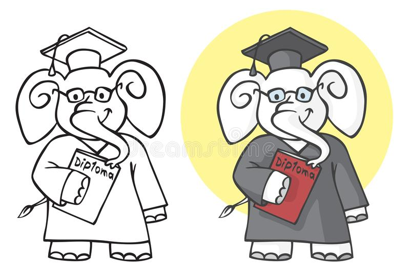 Słonia uczeń z dyplomem ilustracji