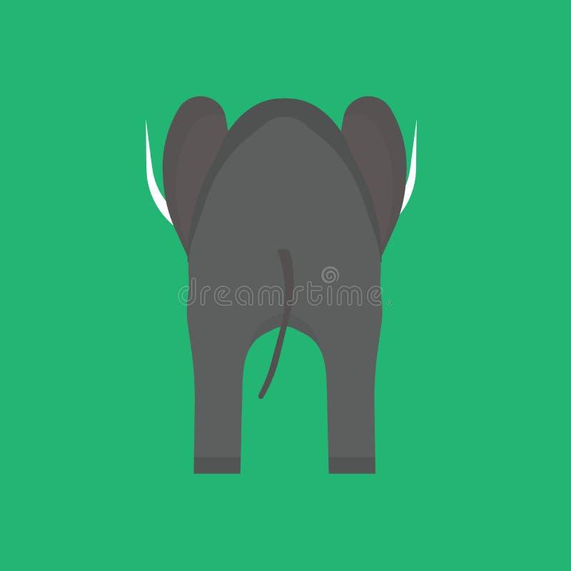 Słonia widoku tylnej wektorowej ikony szara zwierzęca ilustracja Odosobniony ssaka Africa zoo Safari przyrody rysunkowa natura ilustracja wektor