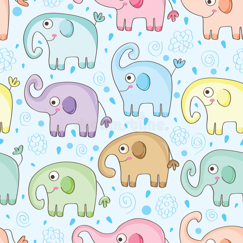 Słonia Wodny Bezszwowy wzór ilustracja wektor