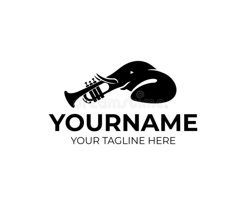 Słonia zwierzę i trąbka instrument, logo projekt Muzyka, melodia, jazz i sztuki, instrument, wektorowy projekt royalty ilustracja
