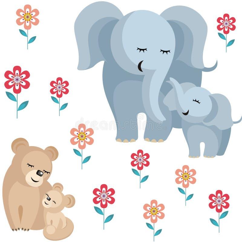 Słonie i lwy royalty ilustracja