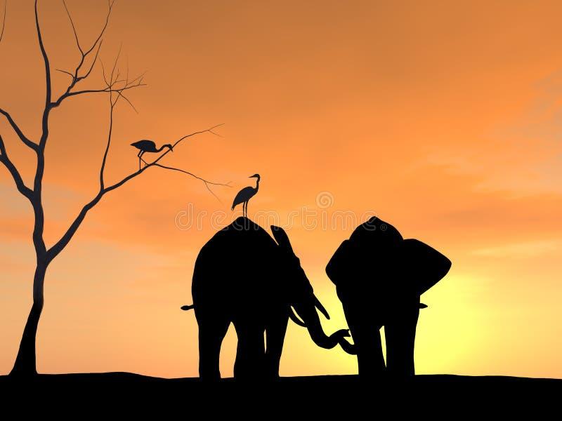 Słonie Trzyma Each Inny bagażnik ilustracja wektor