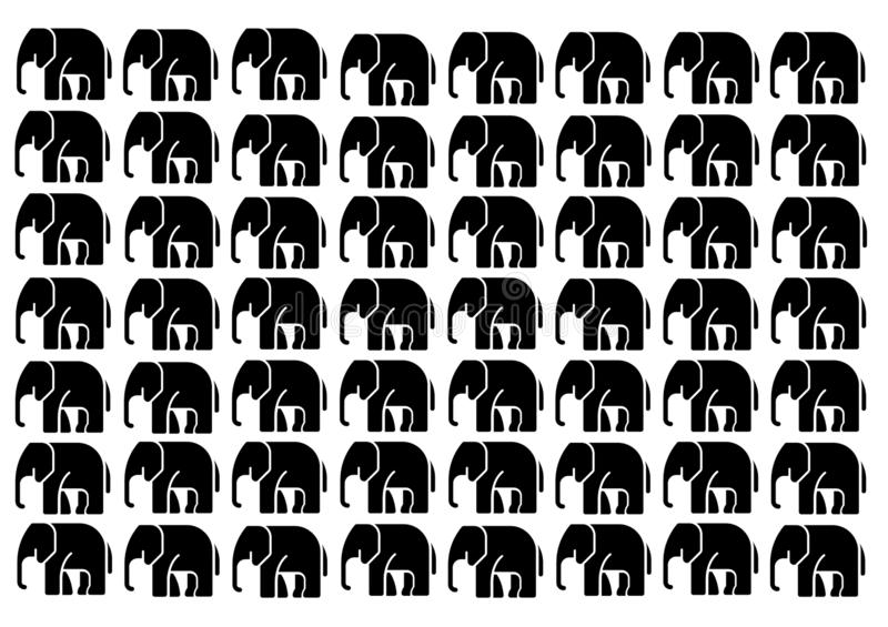 Słonie w czerni na białym tle ilustracja wektor
