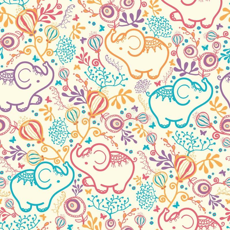 Słonie Z kwiatu Bezszwowym Deseniowym tłem royalty ilustracja