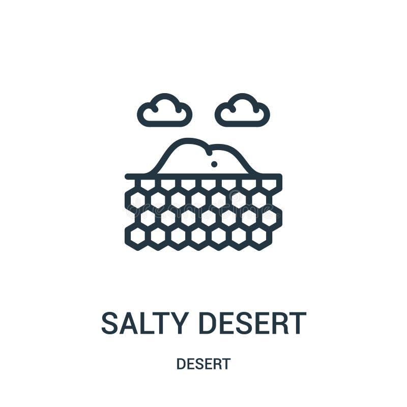 słony pustynny ikona wektor od pustynnej kolekcji Cienka kreskowa słona pustynna kontur ikony wektoru ilustracja Liniowy symbol d ilustracji