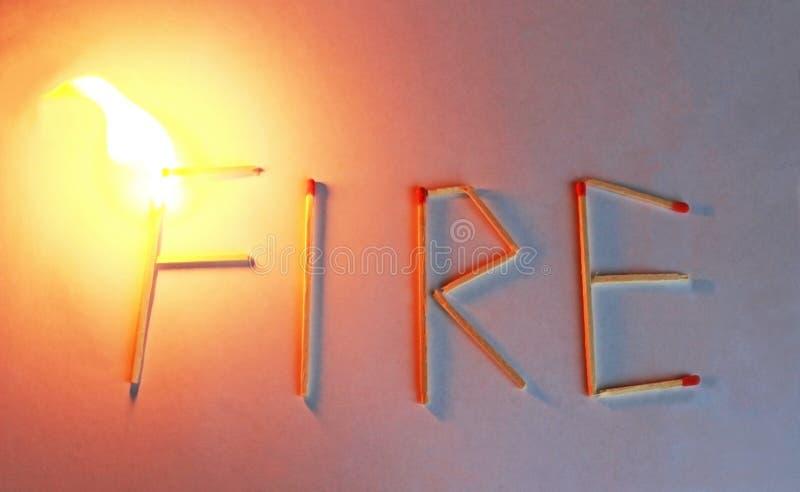 Słowa łapania pożarniczy ogień, pali płomień zdjęcia royalty free