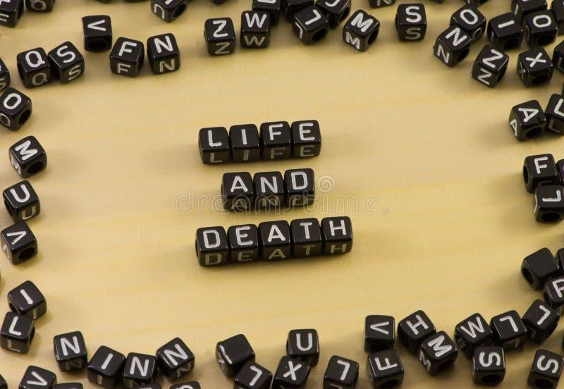 Słowa życie i śmierć obrazy royalty free