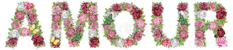 Słowa AMOUR akwarela kwitnie dla dekoracji zdjęcie stock