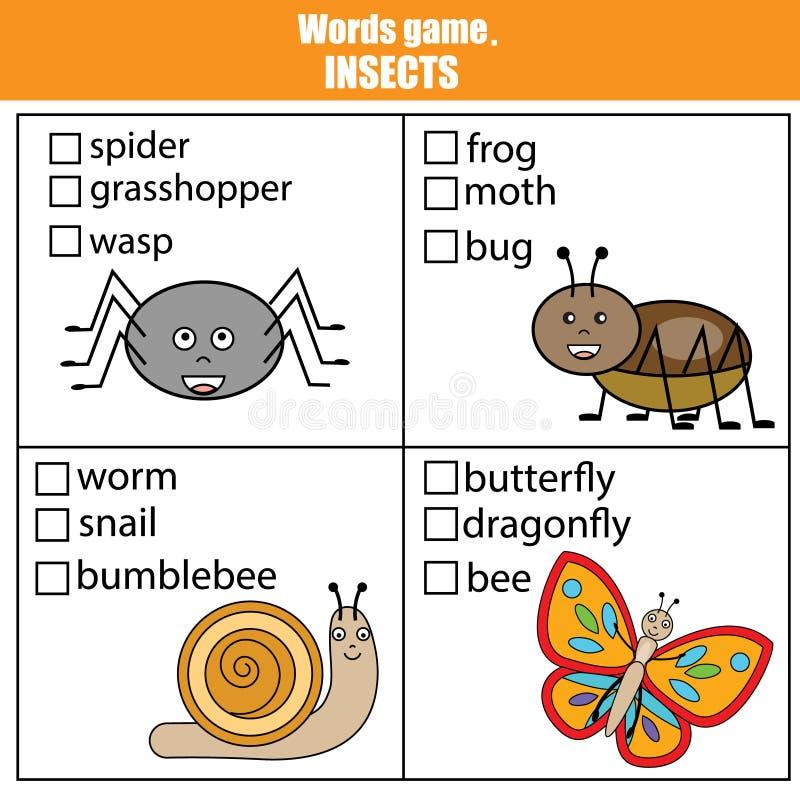 Słowa badają edukacyjną grę dla dzieci Zwierzęta, insekta temat ilustracji