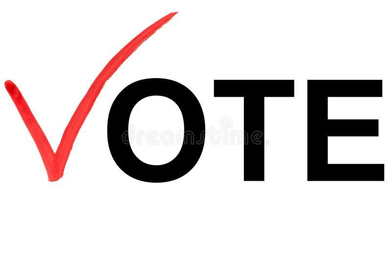 Słowa głosowanie na białym tle z czerwoną czek oceną jako listowy V jako ilustracja ilustracja wektor