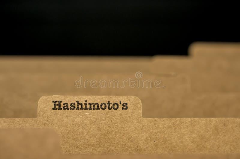 Słowa Hashimoto ` s na wskaźnik karcie zdjęcia stock