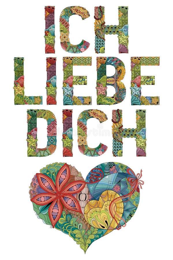Słowa ICH LIEBE DICH z sercem Kocham ciebie w niemiec Wektorowy dekoracyjny zentangle przedmiot ilustracja wektor