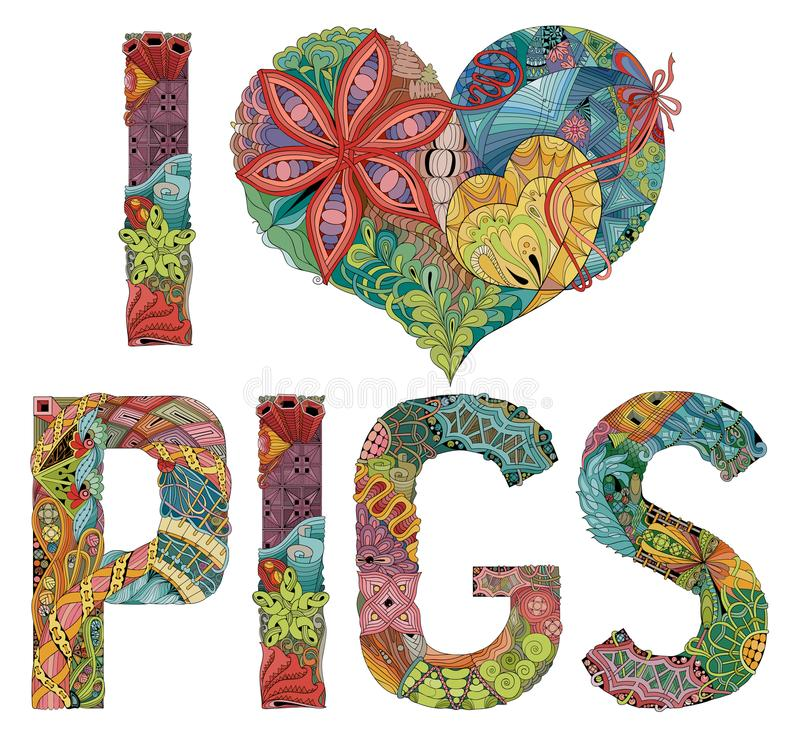 Słowa KOCHAM świnie Wektorowy dekoracyjny zentangle przedmiot ilustracji