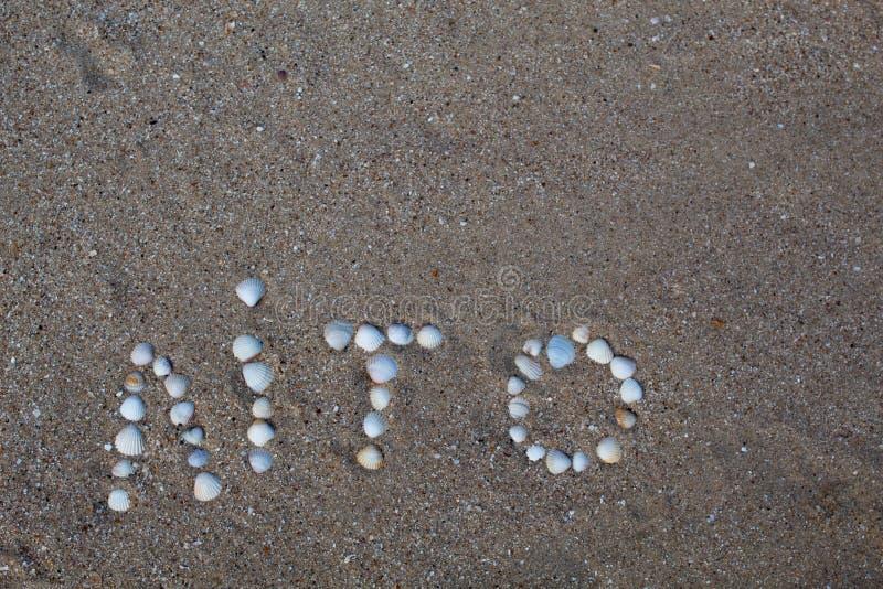 Słowa lato, rozkładający na piasku z skorupami, w Ukraińskim języku fotografia royalty free