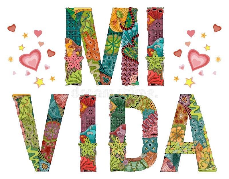 Słowa MI VIDA Mój życie w hiszpańszczyznach Wektorowy dekoracyjny zentangle przedmiot ilustracji