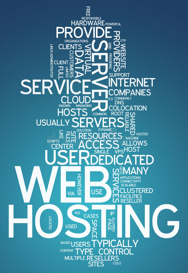 Słowa Obłoczny web hosting ilustracja wektor