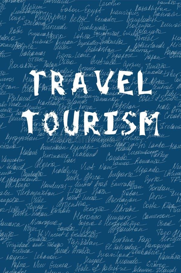 Słowa podróżują i turystyka na bezszwowym wzorze Biały tła imię 195 okręgów administracyjnych na świacie i remisu ręki papieru wa royalty ilustracja