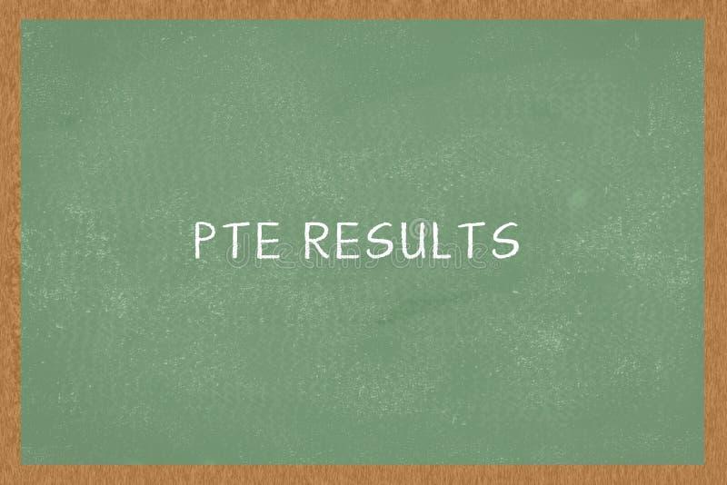 Słowa PTE WYNIKA Zielonego koloru Chalkboard tło PTE egzamin, zdjęcie stock