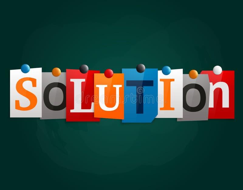 Słowa rozwiązanie robić od gazeta listów dołączających noticeboard z magnesami lub blackboard wektor royalty ilustracja