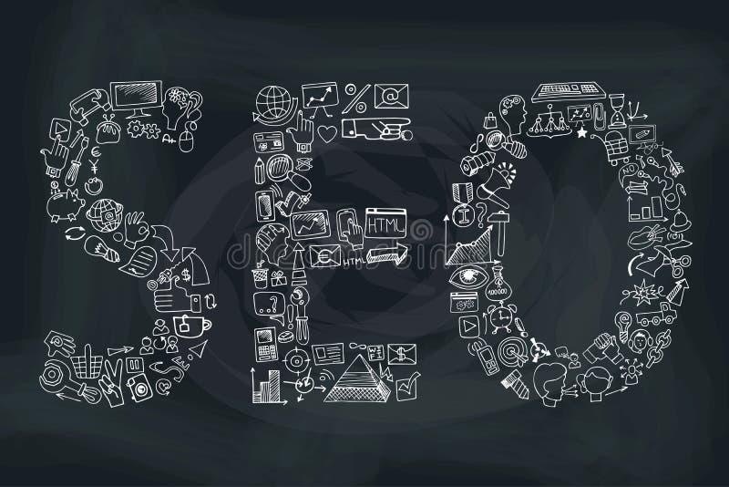 Słowa seo w Doodle ikonach Szkicowy chalkboard ilustracji
