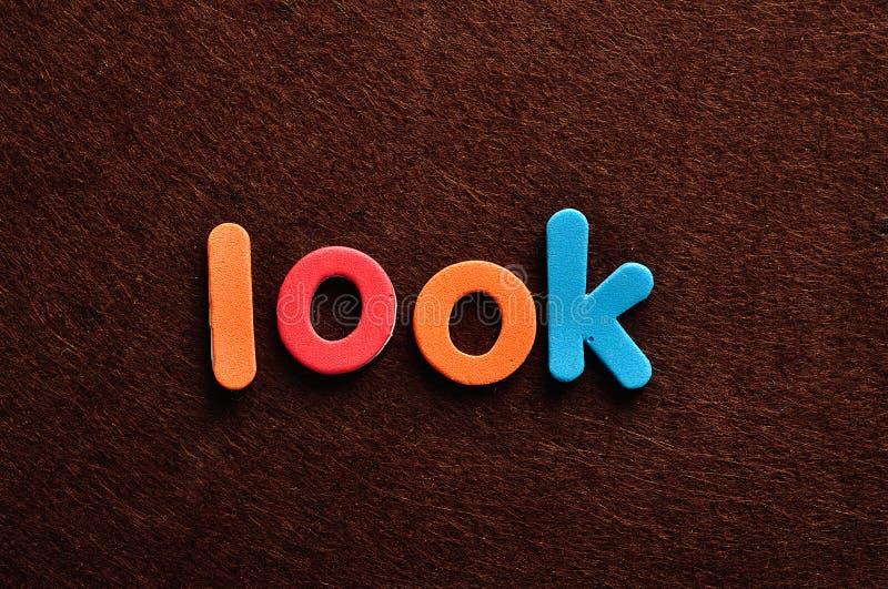Słowa spojrzenie zdjęcia stock