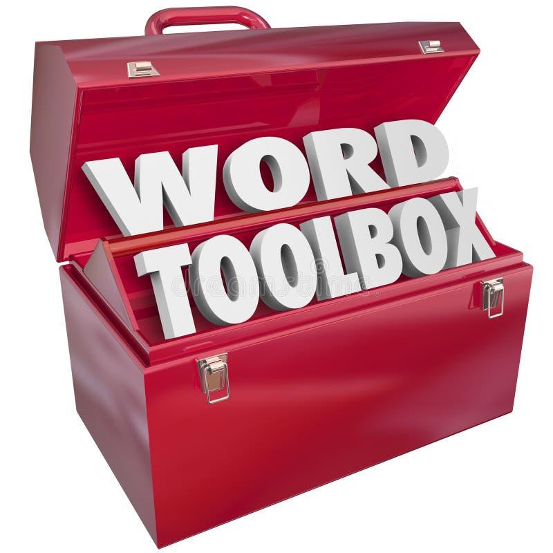 Słowa Toolbox nauczania narzędzi zasoby Literuje Czytelniczą lekcję Ai ilustracji