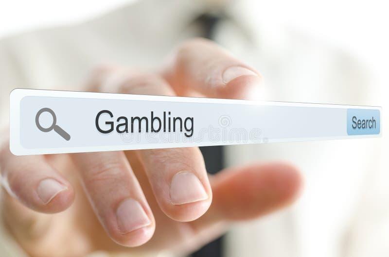 Słowa uprawiać hazard pisać w rewizja barze zdjęcie stock
