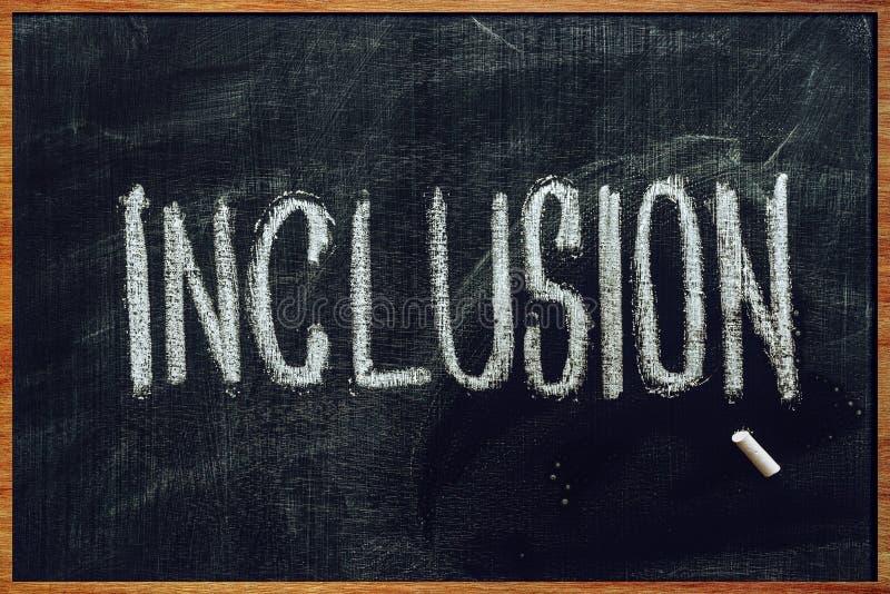 Słowa włączenie na szkolnym blackboard obrazy stock
