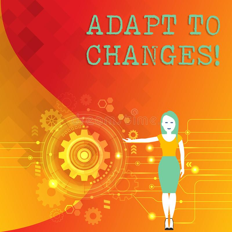 Słowa writing tekst Adaptuje zmiany Biznesowy pojęcie dla Nowatorskiej zmiany adaptacji z technologiczną ewolucji kobietą ilustracji