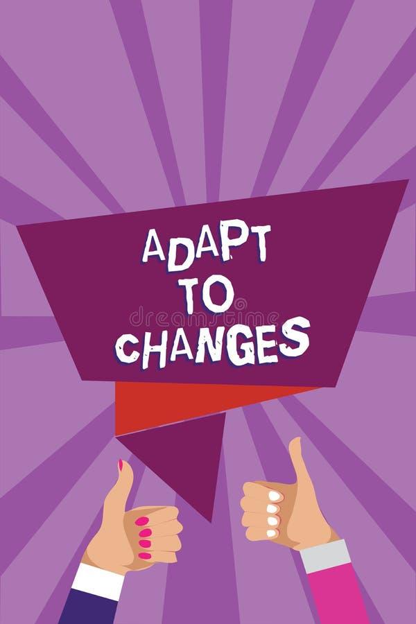 Słowa writing tekst Adaptuje zmiany Biznesowy pojęcie dla uścisk nowych sposobności adaptaci postępu mężczyzna Wzrostowej kobiety zdjęcie stock