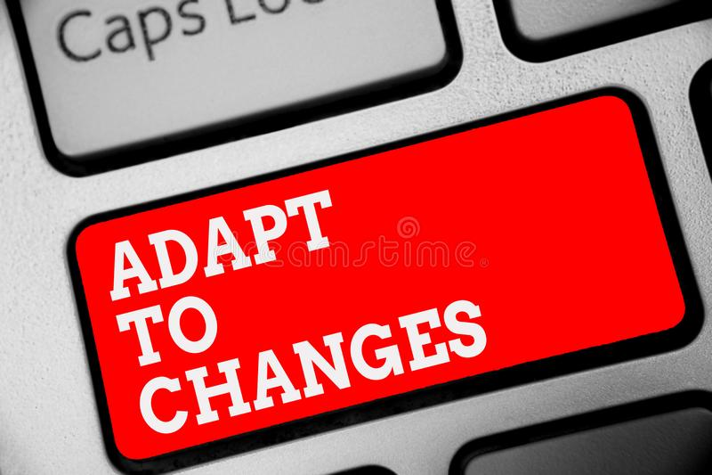Słowa writing tekst Adaptuje zmiany Biznesowy pojęcie dla uścisk sposobności adaptaci nowego Wzrostowego postępu czerwieni Klawia zdjęcia stock