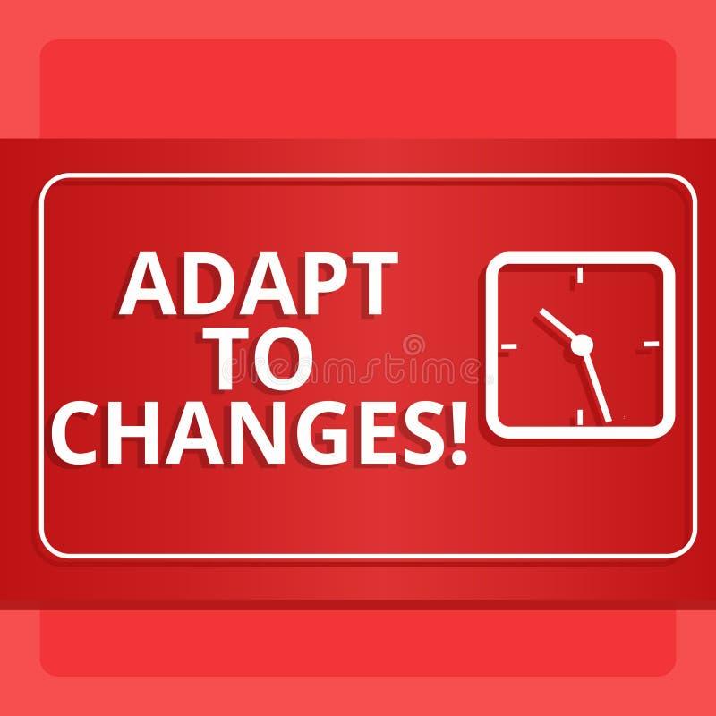 Słowa writing tekst Adaptuje zmiany Biznesowy pojęcie dla zmiany w rozkaz transakcji z nim pomyślnie Nowożytnym twój zachowanie ilustracja wektor