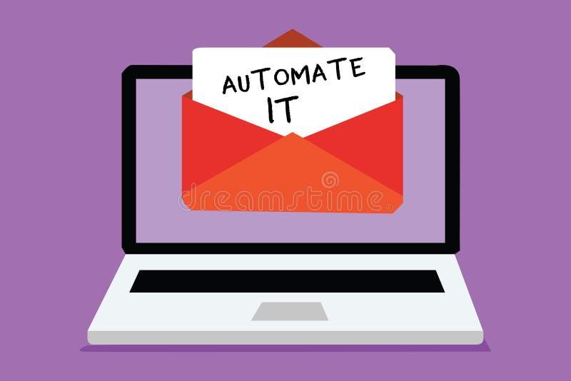Słowa writing tekst Automatyzuje Mnie Biznesowy pojęcie dla konwertyta procesu być działającym automatycznym wyposażeniem łatwośc ilustracja wektor