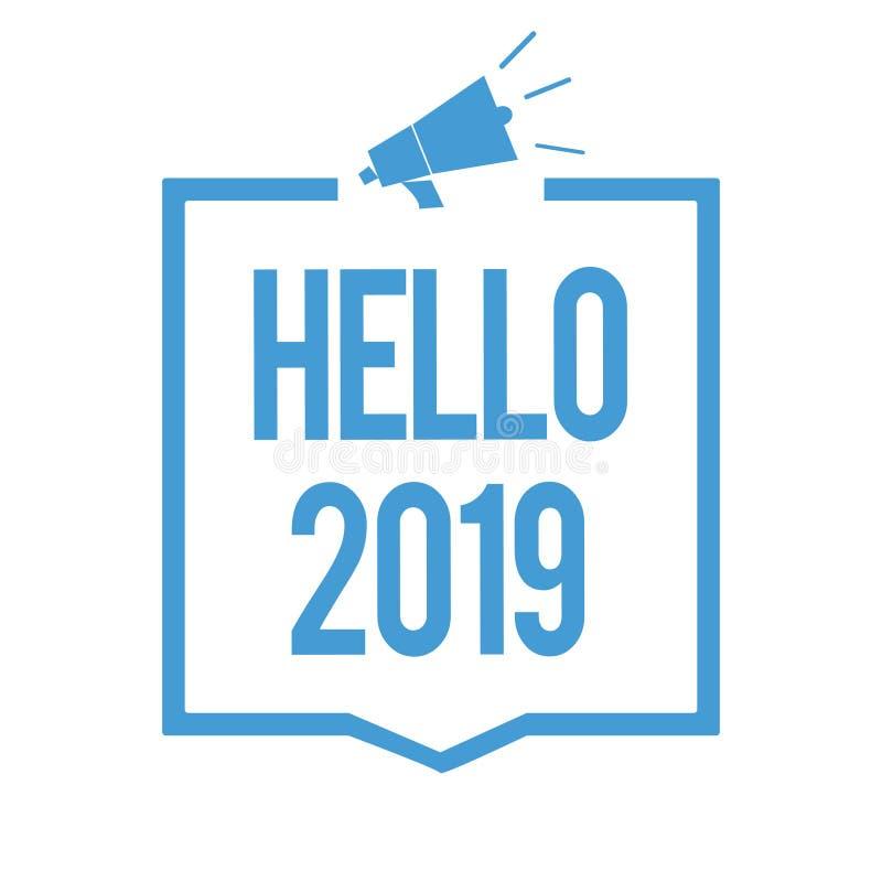 Słowa writing tekst 2019 Cześć Biznesowy pojęcie dla Mieć_nadzieja dla wielkości zdarzać się dla nadchodzącego nowego roku megafo royalty ilustracja