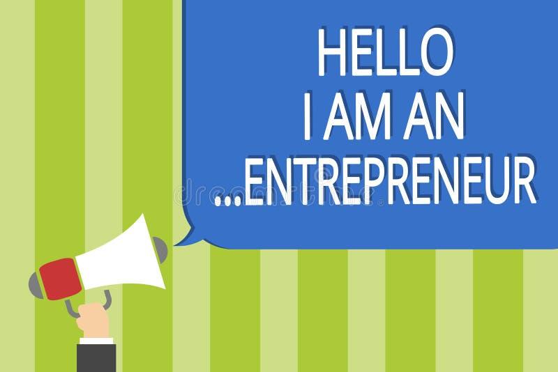 Słowa writing tekst Cześć Jestem przedsiębiorca Biznesowy pojęcie dla osoby która ustawia w górę biznesu lub rozpoczęcia - Obsług ilustracja wektor